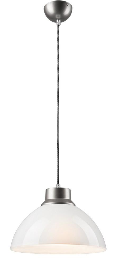 Skleplamp 1 Nowoczesna Lampa Wisząca Biała Srebrna Szkło 30 Cm