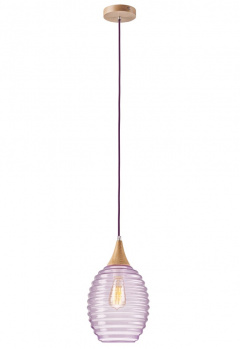 1 LAMP SINGLE UL glass/WOOD SCANDINAVIAN STYLE PURPLE