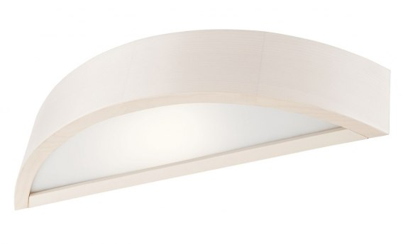 1 x E27, WALL LAMP WOODEN SEMICIRCLE WHITE