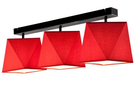 3 CEILING LAMP CARLA SHADES DIAMOND LOFT, VINTAGE, GLAMOUR RED