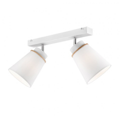 2 WHITE MODERN CEILING STRIP AGUSTINO with fabric shades