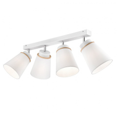 4 WHITE MODERN CEILING STRIP AGUSTINO with fabric shades