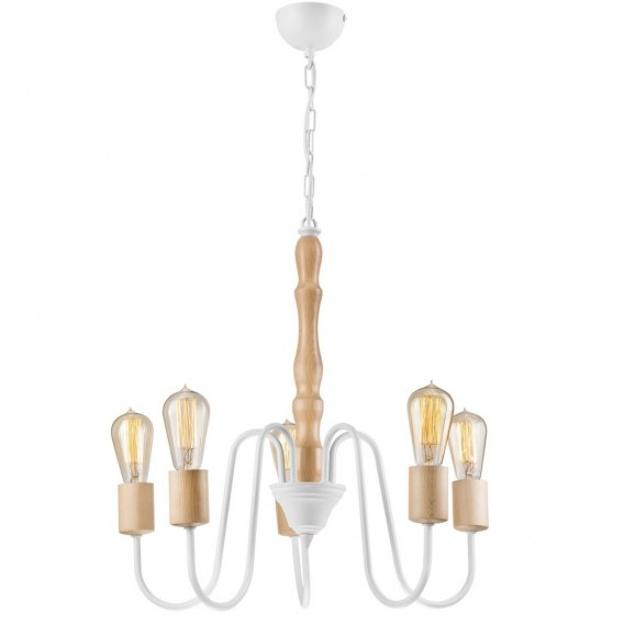 5 CLASSIC CHANDELIER WOODEN NORAH LAMP WHITE/natural BEECH
